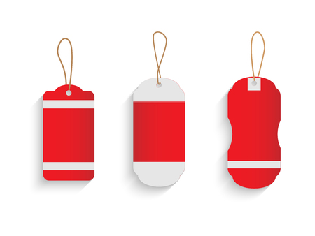Illustration of various vintage holiday tags isolated on a white background.