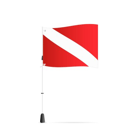 Illustration of a scuba flag isolated on a white background.