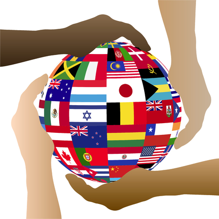 Illustration of hands holding a sphere with flags from various countries isolated on a white background.
