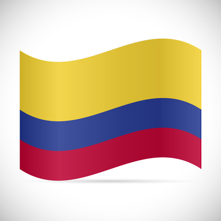 Illustration of the flag of Columbia isolated on a white background.