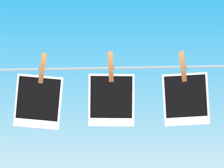 Illustration of hanging pictures on a clothesline. Vectores
