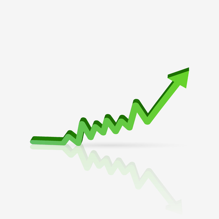 Illustration of a green sales chart isolated on a white background. Stock Illustratie