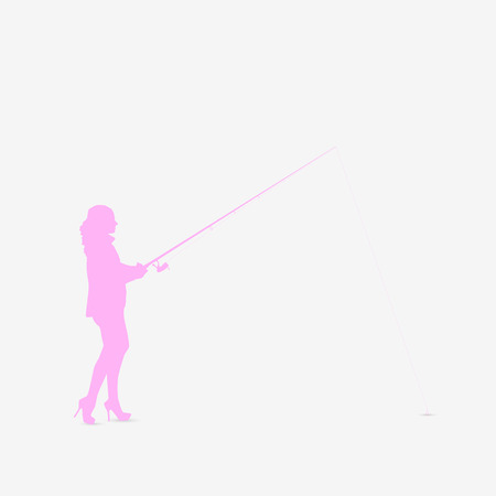 Illustration of a silhouette of a woman fishing isolated on a white background. Illustration