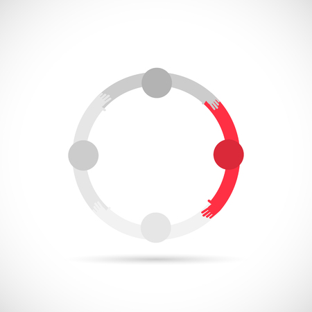 Illustration of abstract figures in a circle isolated on a white background.