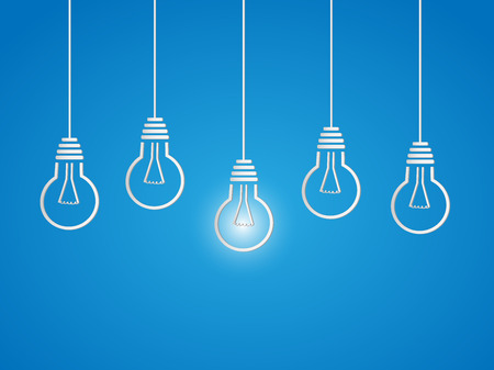 Illustration of hanging light bulbs on a colorful blue background.