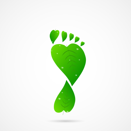 Illustration of a footprint made of leaves isolated on a white background.