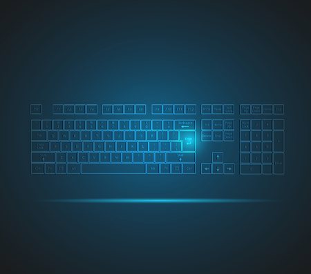 Illustration of a glowing keyboard design on a dark background.