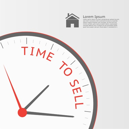 Illustration of a clock with the message Time to Sell.
