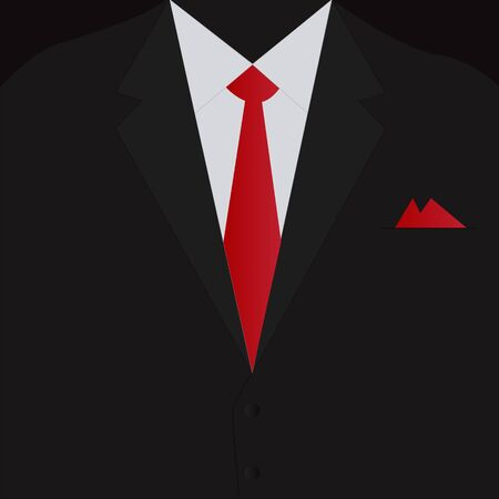 Illustration of a black business suit and red tie. Illustration