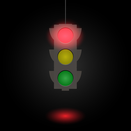 Flat illustration of a traffic light isolated on a dark background.