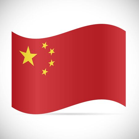 Illustration of the flag of China isolated on a white background. 向量圖像