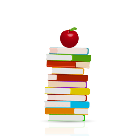 Illustration of a stack of books and apple isolated on a white background.