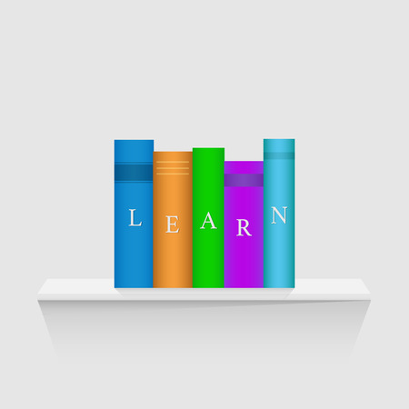 Illustration of a floating shelf with colorful books isolated on a white background.