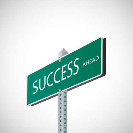 Illustration of a street sign with the word Success. Illustration