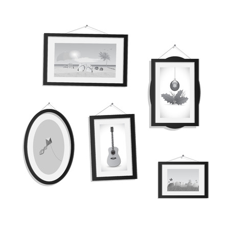 Illustration of hanging frames with pictures isolated on a white background.