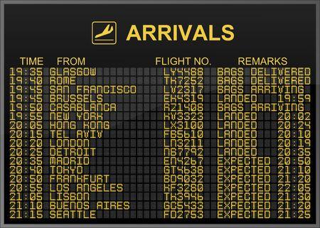 arrivals: International Airport Arrivals Board Stock Photo