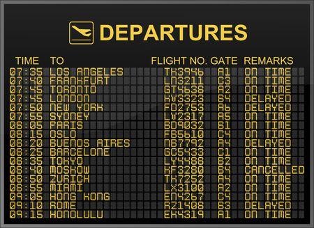 departures board: International Airport Departures Board Editorial