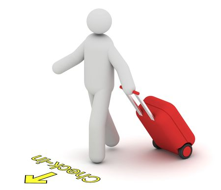 Man with a hard trolley case going to check-in Stock Photo - 5021790