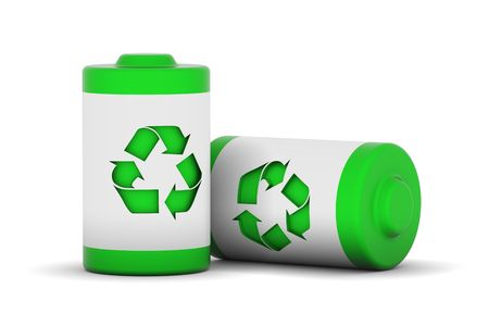 Two batteries with recycle logo photo
