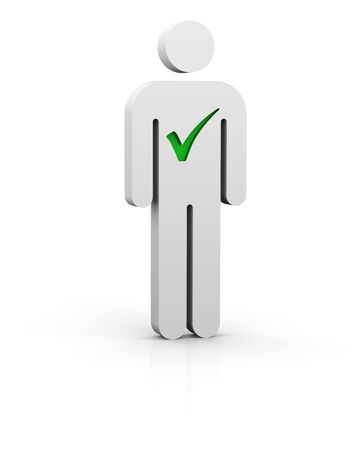 eligible: Uomo con il simbolo segno di spunta verde in campo bianco Archivio Fotografico