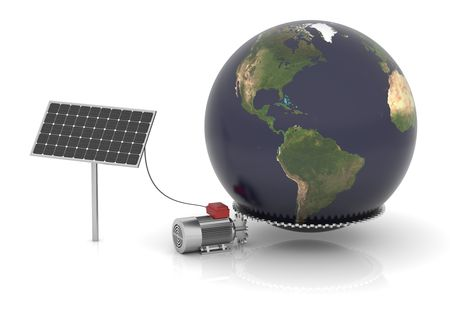 moves: Solar panel produces electrical energy and moves the world.  Stock Photo