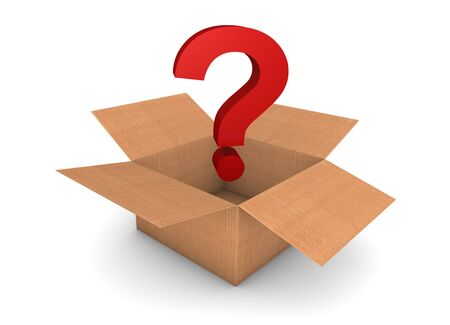 Opened cardboard box with question on something about the box photo