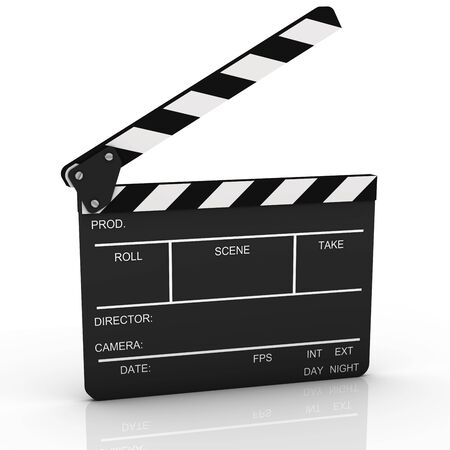 Opened clapboard isolated on a white background