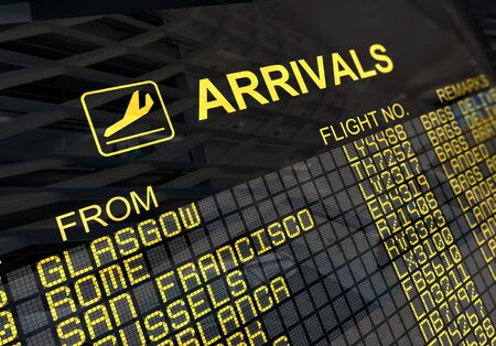 arrivals: International arrivals board panel with environment reflection