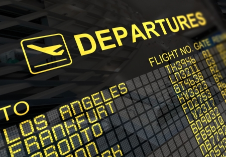 International departures board panel with environment reflection photo