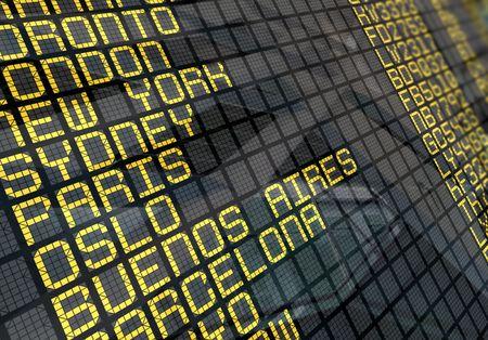 Close-Up von einer internationalen Flughafen-Board-Bedienfeld mit Umgebung Reflexion