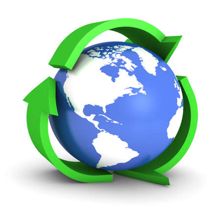 Green recycle sign with globe inside isolated on a white background.   Stock Photo - 5944226