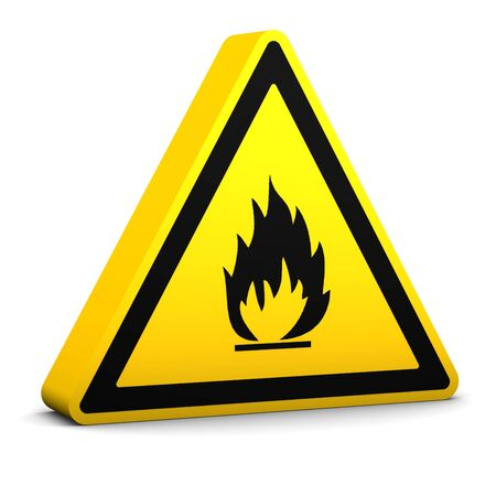 Flammable yellow sign on a white background. Part of a series. Stock Photo - 6141904