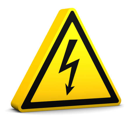 Electric hazard yellow sign on a white background. Part of a series. Stock Photo - 6141903
