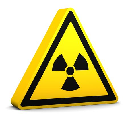 disastrous: Radioactive yellow sign on a white background. Part of a series. Stock Photo