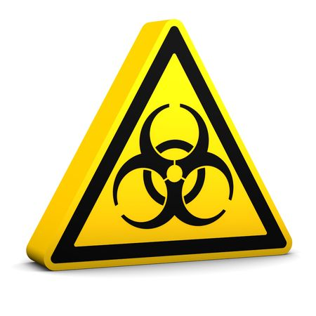 Biohazard yellow sign on a white background. Part of a series.