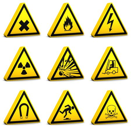 trip hazard sign: Safety signs on a white background. Set01-Part of a series.