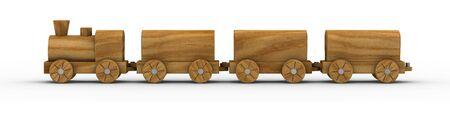 juguetes de madera: Tren de juguete de madera aislado en un fondo blanco. Parte de una serie.