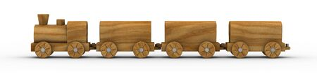 wood railway: Wooden toy train isolated on a white background. Part of a series. Stock Photo