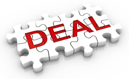 deal in: White jigsaw puzzle with red word deal in a white background. Concept image. Part of a series.