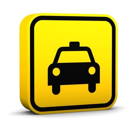 taxi: Signo de taxi sobre un fondo blanco. Parte de una serie. Foto de archivo