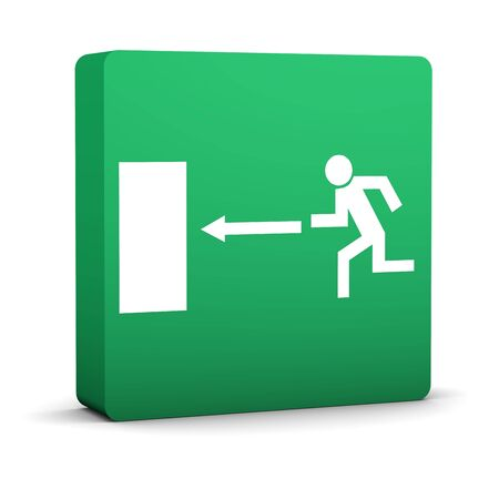 Green emergency exit sign on a white background. Part of a series. Stock Photo - 6259886