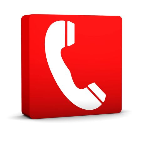 Red telephone sign on a white background. Part of a series. Stock Photo - 6259888