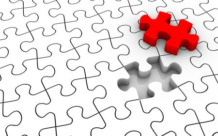 White jigsaw puzzle with last piece in red color. Image concept and part of a series. Stock Photo - 6259911