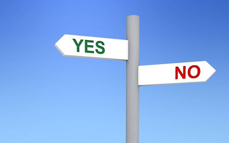 no image: Signal pointing to yes and no directions. Image concept.