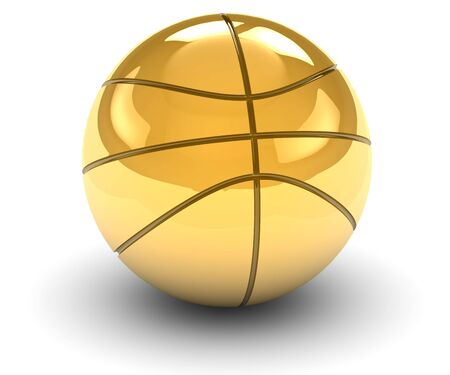 basketball shot: Golden basket ball isolated on a white background. Part of a series. Stock Photo