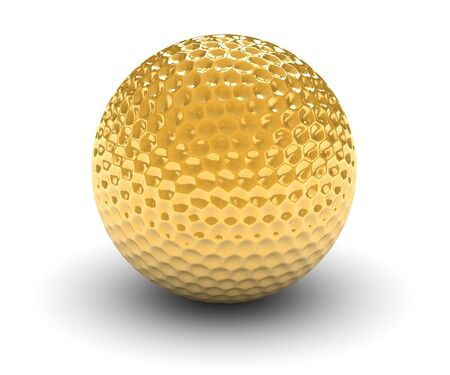 Golden golf ball isolated on a white background. Part of a series. Stock Photo