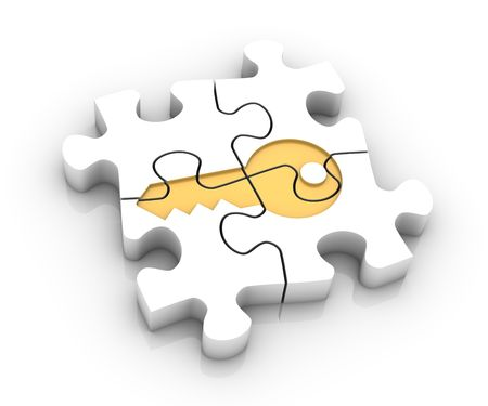 Jigsaw puzzle pieces assembled to create a key. Image concept and part of a series. Stock Photo
