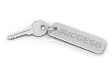 Silver key to success on a white background. Image concept and part of a series. Stock Photo - 6554709