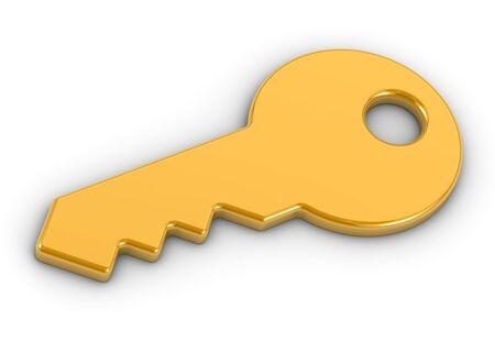 Golden key on a white background Stock Photo - 6554710