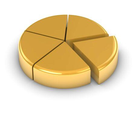 graficas de pastel: Gr�fico de oro sobre un fondo blanco. Parte de una serie.  Foto de archivo